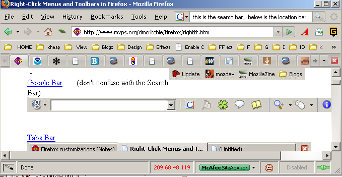 Right-Click Menus and Toolbars in Firefox